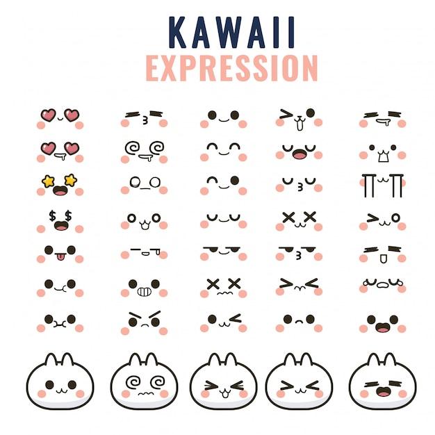 Ustaw Słodkie Twarze Kawaii, Oczy I Usta, Zabawny Emotikon Z Kreskówek W Różnych Wyrażeniach Premium Wektorów