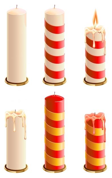 Ustaw świąteczną świecę Premium Wektorów