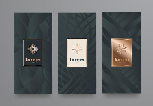 Ustaw Szablony Etykiet O Różnej Teksturze Dla Produktów Luksusowych. Premium Wektorów