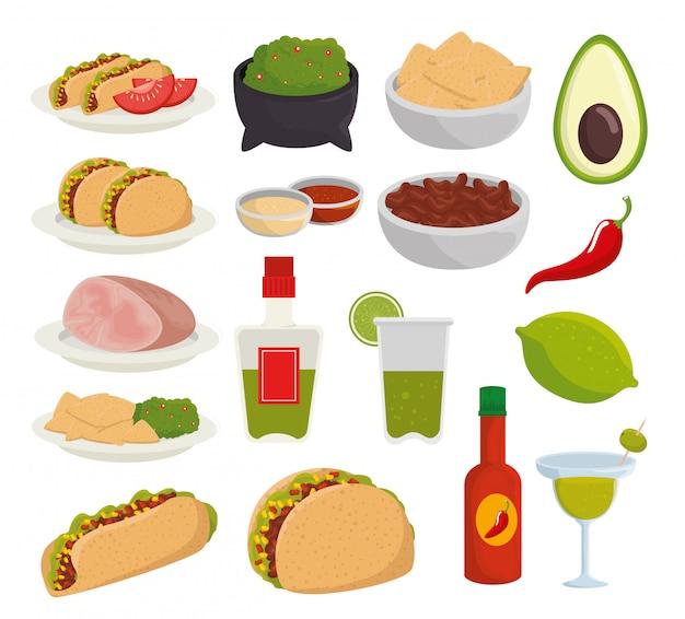 Ustaw Tradycyjne Meksykańskie Jedzenie Na Uroczystość Darmowych Wektorów