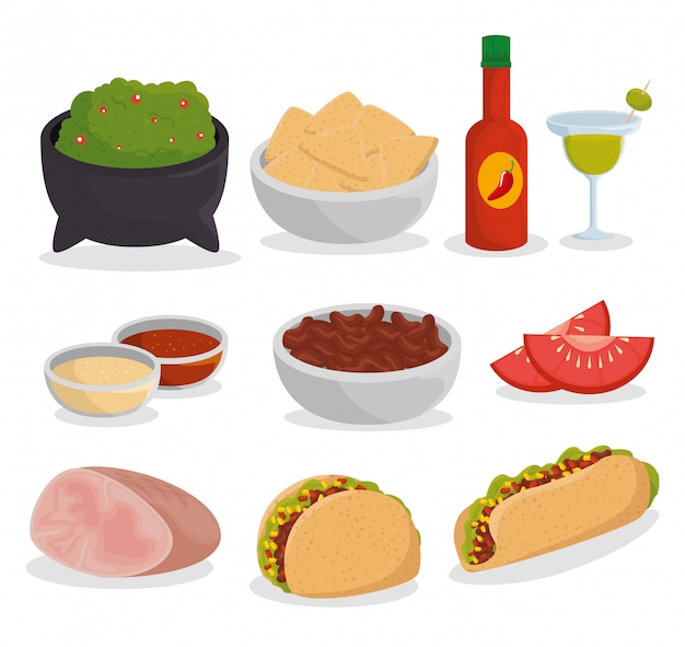 Ustaw Tradycyjne Meksykańskie Jedzenie Na Uroczystości Darmowych Wektorów