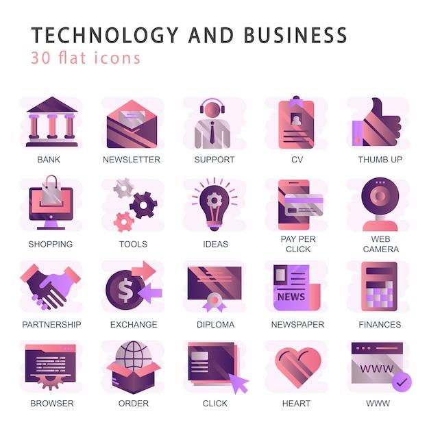 Ustaw wektorowe ikony z elementami dla mobilnych koncepcji i aplikacji internetowych Premium Wektorów