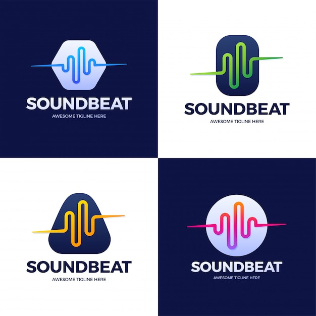 Ustaw Zapasowy Szablon Logo Sound Sound Wave. Logotyp Technologii Linii Streszczenie Muzyki. Godło Elementu Cyfrowego, Graficzny Przebieg Sygnału, Krzywa, Głośność I Korektor. Ilustracja. Premium Wektorów