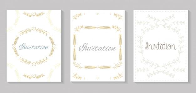 Ustaw zaproszenia z liści złotej kaligrafii Premium Wektorów