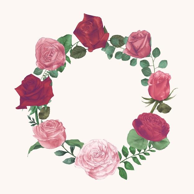 Ustaw zbiór akwarela róż ręcznie narysować farby wektor Darmowych Wektorów