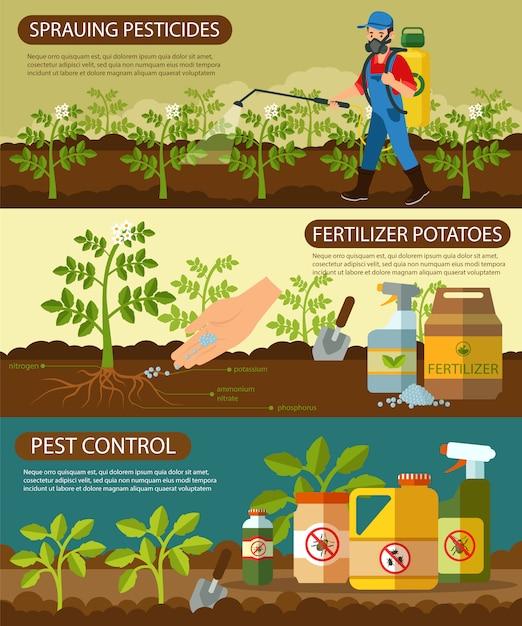 Ustaw Ziemniaki Nawozowe I Pestycydy W Sprayu. Premium Wektorów