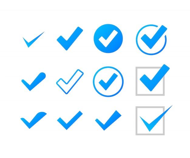 Ustaw Znaczniki Wyboru Lub Kleszcze. Zaznacz Symbol, Grunge Znacznik Wyboru. Ilustracji. Premium Wektorów