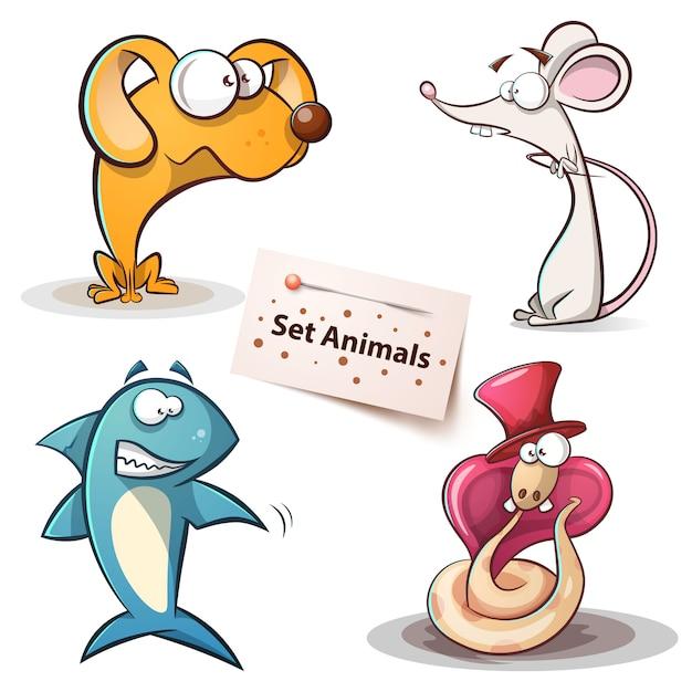 Ustaw zwierzęta Premium Wektorów