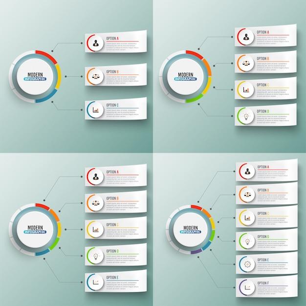 Ustawia abstrakcjonistycznych elementy wykres wektorowy infographic szablon z etykietka okręgami. Premium Wektorów