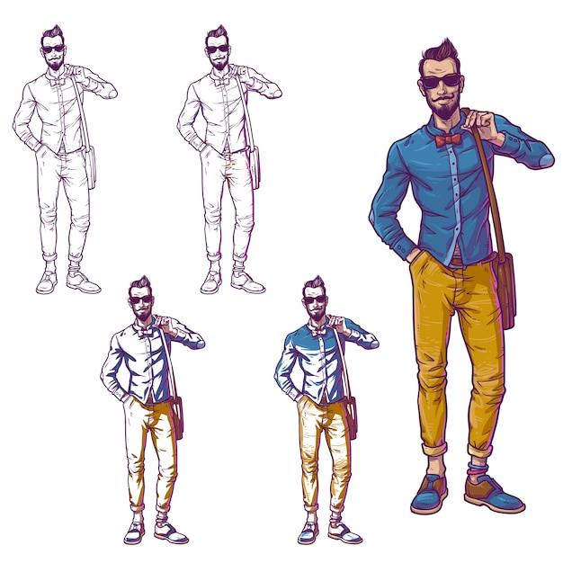 Ustawianie ilustracji wektorowych modnego faceta Darmowych Wektorów
