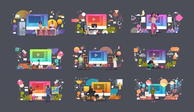 Ustawić Blogerów Nagrywających Wideo Vlogerów Wykonujących Transmisję Strumieniową Na żywo Media Społecznościowe Blogowanie Koncepcja Pełnej Długości Pozioma Premium Wektorów