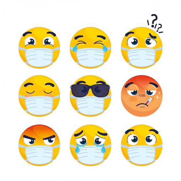 Ustawić Emotikony Noszenie Maski Medyczne, Twarze Emotikony Noszenie Maski Chirurgicznej Ikony Wektor Ilustracja Projektu Premium Wektorów