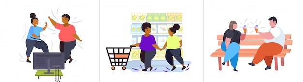 Ustawić Grubych Otyłych Ludzi W Różnych Pozach Z Nadwagą Mix Rasy Męskiej Postaci Płci żeńskiej Kolekcja Otyłość Niezdrowy Koncepcja Stylu życia Premium Wektorów