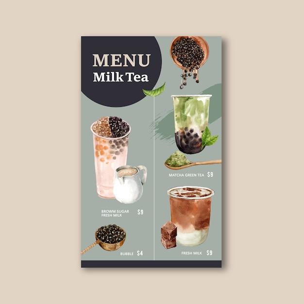 Ustawić herbatę mleczną bąbelek cukru brązowego i menu matcha, vintage treści reklam, ilustracja akwarela Darmowych Wektorów
