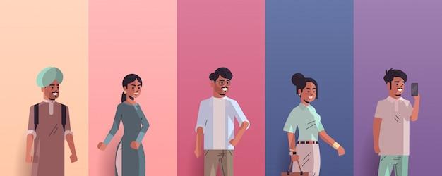 Ustawić Indyjskich Mężczyzn Kobiety Awatary Uśmiechnięty Mężczyzna Postaci Z Kreskówek Kolekcja Poziome Portret Premium Wektorów