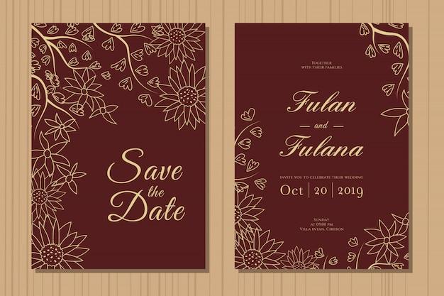 Ustawić kartę zaproszenia ślubne z streszczenie ręcznie rysowane doodle wieniec botaniczny kwiatowy tło szablonu Premium Wektorów