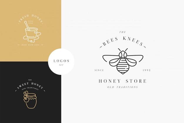 Ustawić Logo Ilustrujące I Szablony Projektów Lub Odznaki. Etykiety Na Miód Ekologiczny I Ekologiczny Oraz Tagi Z Pszczołami. Liniowy Styl I Złoty Kolor. Premium Wektorów