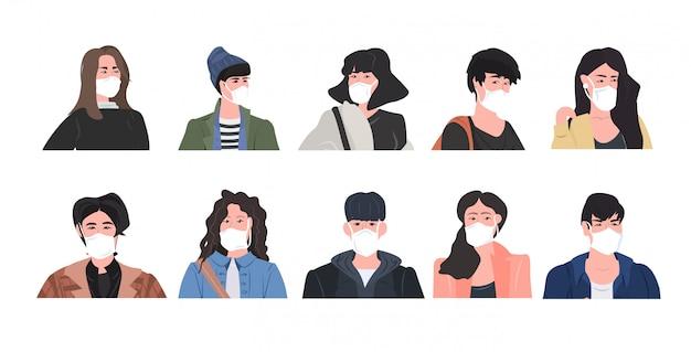 Ustawić Ludzi Noszących Maskę, Aby Zapobiec Epidemii Wuhan Coronavirus Pandemia Medyczne Ryzyko Zdrowotne Mężczyźni Kobiety Postaci Z Kreskówek Kolekcja Portret Poziomy Premium Wektorów