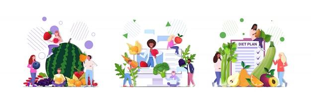 Ustawić Ludzi Posiadających Różne Owoce Warzywa Jagody Zdrowe Odżywianie Wegańskie świeże Surowe Jedzenie Wegetariańskie Koncepcje Kolekcja Pełnej Długości Poziomej Premium Wektorów
