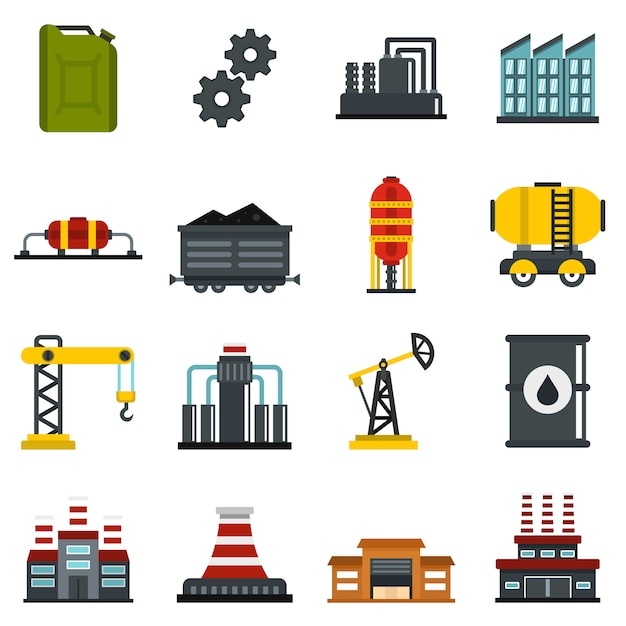 Ustawić Płaskie Ikony Przemysłu Premium Wektorów