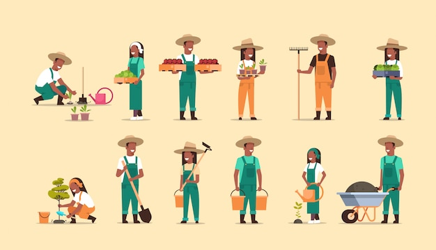 Ustawić Rolników Posiadających Inny Sprzęt Rolniczy Do Zbioru Sadzenia Warzyw Męskich Kobiet Pracowników Rolnych Kolekcja Eko Koncepcja Rolnictwa Pełnej Długości Poziomej Premium Wektorów