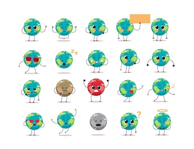 Ustawić Słodkie Znaki Ziemi Z Różnych Emocji Kreskówka Maskotka Glob Osobistości Kolekcja Zapisać Planety Koncepcja Na Białym Tle Premium Wektorów