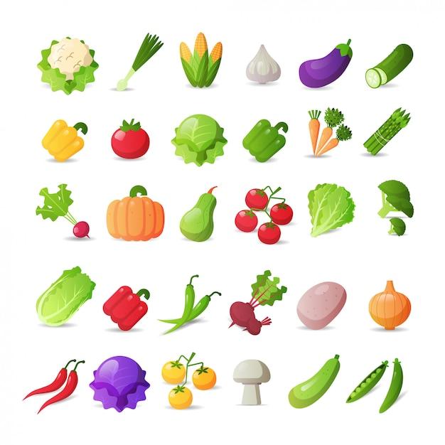 Ustawić świeże Warzywa Ikony Różne Naklejki Kolekcja Koncepcja Zdrowej żywności Premium Wektorów