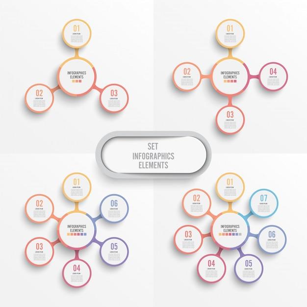 Ustawić Wektor Infographic Szablon Z Papierową Etykietą 3d Premium Wektorów