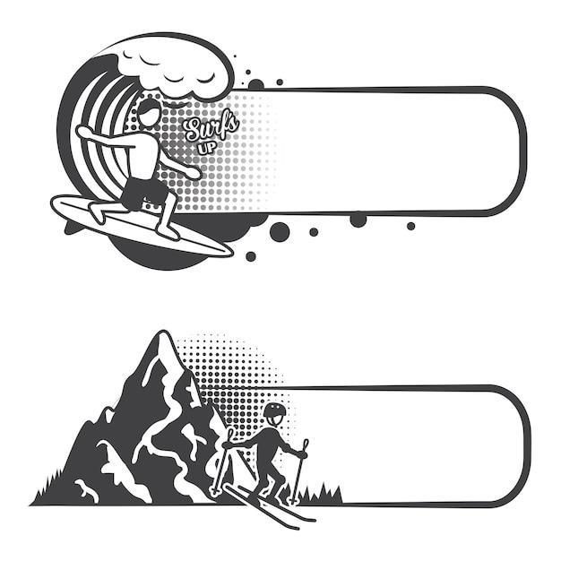 Ustawione banery sportów ekstremalnych Darmowych Wektorów