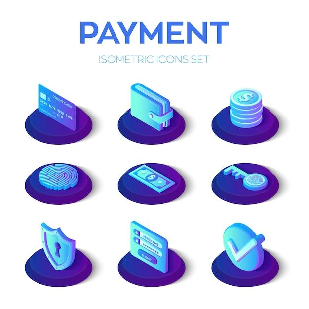 Ustawione Isony Płatności Internetowych. Izometryczne Płatności Mobilne 3d Ikony. Premium Wektorów