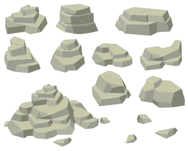Ustawione Stosy Płaskich Kamieni. Stosy Kamieni Naturalnych O Różnych Rozmiarach, Piramidy Skalne I Stopnie Na Białym Tle. Darmowych Wektorów