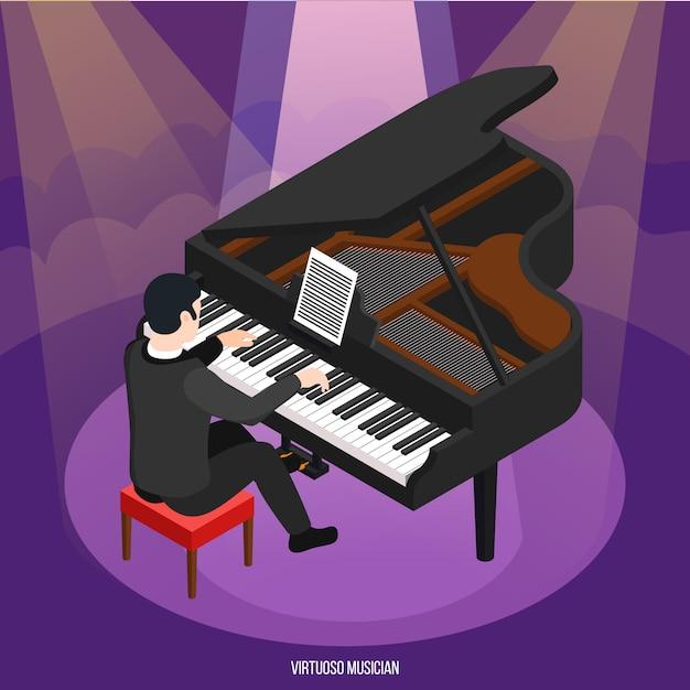 Utalentowany Pianista Podczas Koncertu W Promieniach Lekkiej Izometrycznej Kompozycji Na Fioletowo Darmowych Wektorów