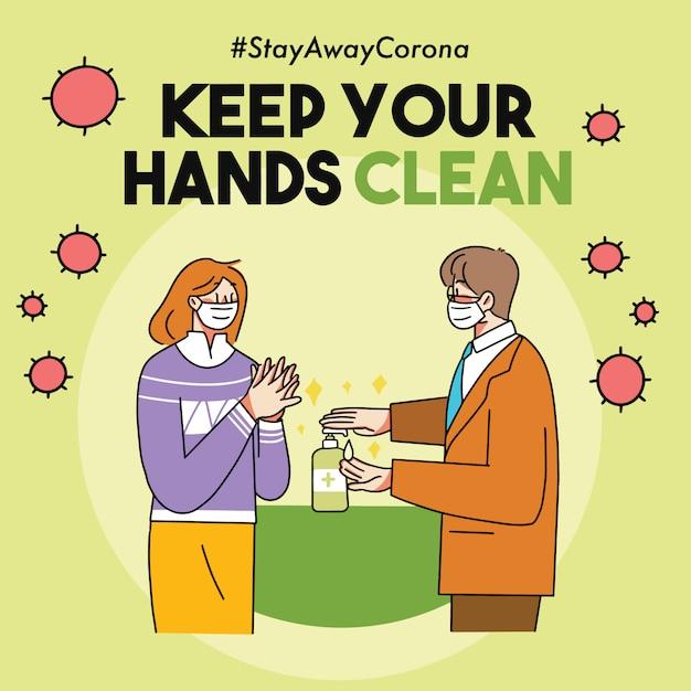 Utrzymaj Ręce W Czystości Ilustracja Kampanii Covid-19 Virus Premium Wektorów
