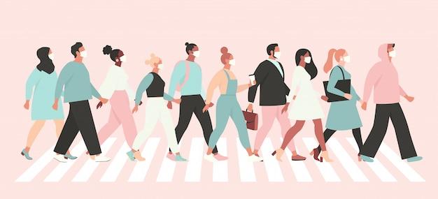 Utrzymuj Koronawirusa Dystansu Społecznego, Ludzi W Białej Masce Medycznej Idących Ulicą. Premium Wektorów