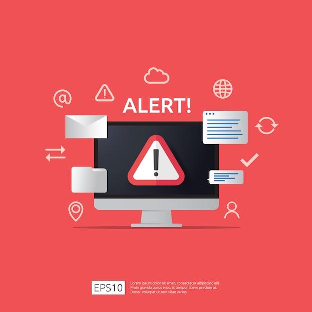 Uwaga Ostrzeżenie Atakujący Znak Ostrzegawczy Z Wykrzyknikiem Na Ekranie Monitora Komputera. Strzeż Się Czujności Ikony Niebezpieczeństwo Internetowe. Premium Wektorów