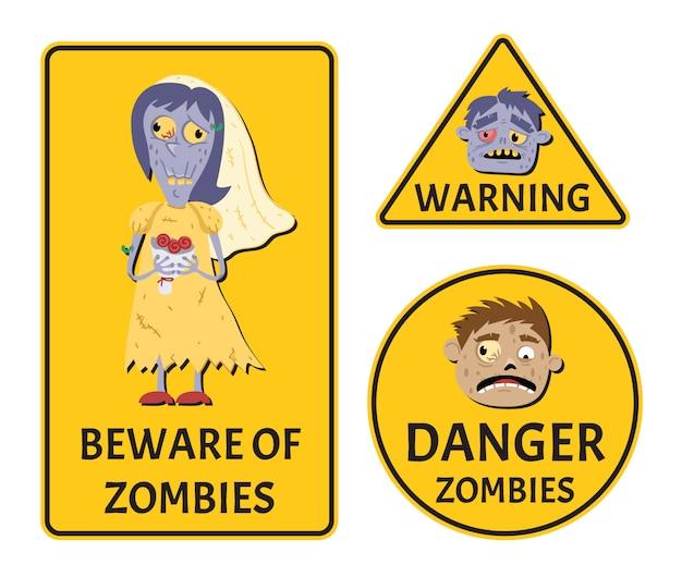 Uważaj na zestaw naklejek ostrzegawczych zombie Premium Wektorów
