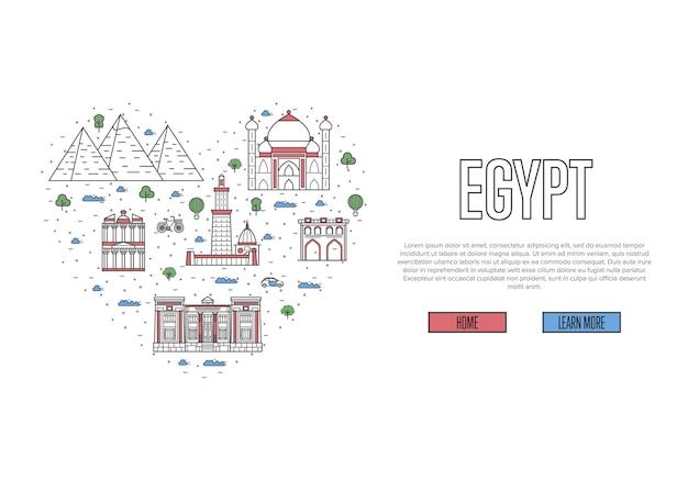 Uwielbiam Egipt Szablon W Stylu Liniowym Premium Wektorów