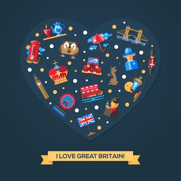 Uwielbiam Kartę Serca Wielkiej Brytanii Ze Słynnymi Brytyjskimi Symbolami Premium Wektorów