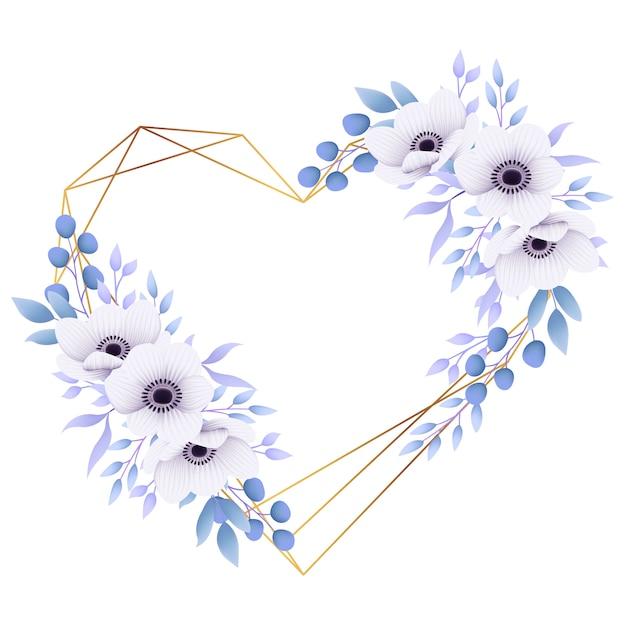 Uwielbiam kwiatowy rama tło z kwiatami anemon Premium Wektorów