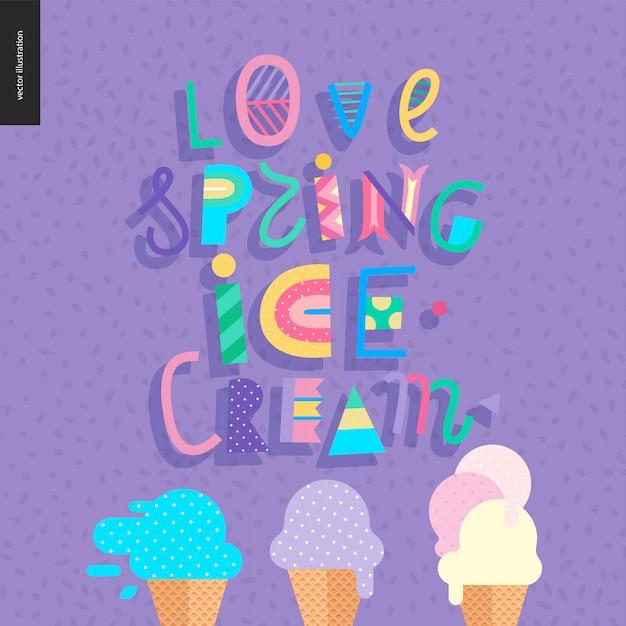 Uwielbiam liternictwo wiosenne lody Premium Wektorów