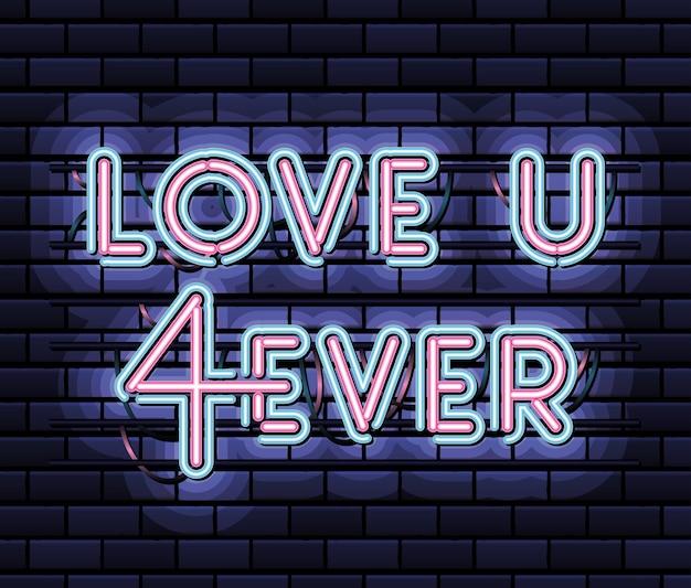 Uwielbiam Napis U 4ever Neonową Czcionką W Różowym I Niebieskim Kolorze Na Granatowym Projekcie Ilustracji Premium Wektorów