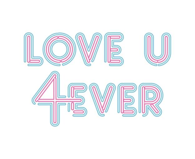 Uwielbiam Napis U 4ever Neonową Czcionką W Różowym I Niebieskim Kolorze Premium Wektorów