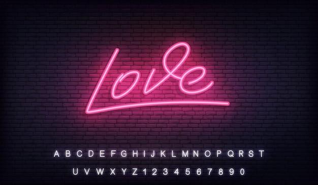 Uwielbiam Neon, Uwielbiam Neon świecące Napis Napis Na Walentynki Premium Wektorów