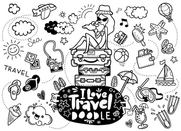 Uwielbiam Podróże, Ilustracji Wektorowych Podróży Doodles Szkic Ikony Premium Wektorów