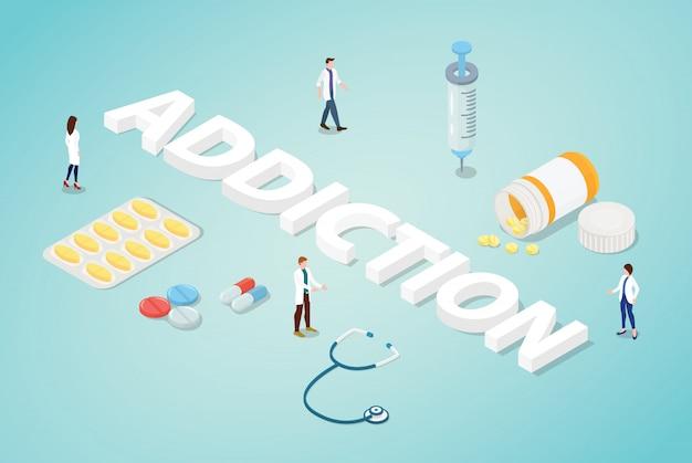 Uzależnienie Od Narkotyków Z Zespołem Ludzi Lekarz Z Narkotykami I Tekstem Dużych Słów Premium Wektorów