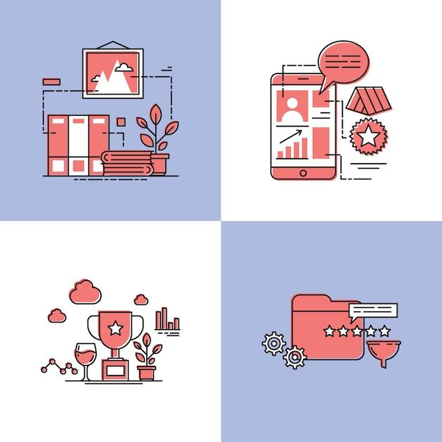 Uznanie ilustracji wektorowych koncepcji projektu Premium Wektorów