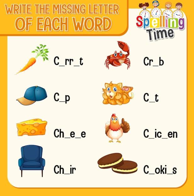 Uzupełnij Brakującą Literę W Każdym Arkuszu Ze Słowami Dla Dzieci Darmowych Wektorów