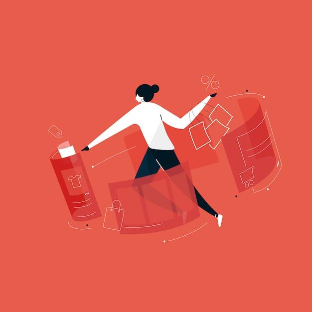 Użytkownicy Robią Zakupy Online Z Ilustracją Rzeczywistości Rozszerzonej, Zakupy Online Z Domu Premium Wektorów