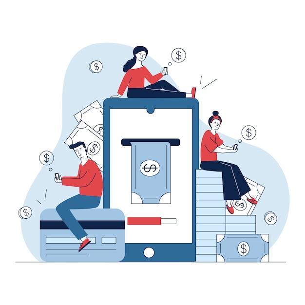 Użytkownicy Smartfonów Płacą Online Darmowych Wektorów
