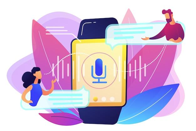 Użytkownicy Tłumaczący Mowę Za Pomocą Smartwatcha. Tłumacz Cyfrowy, Przenośny Tłumacz, Koncepcja Tłumacz Języka Elektronicznego Na Białym Tle. Jasny żywy Fiolet Na Białym Tle Ilustracja Darmowych Wektorów